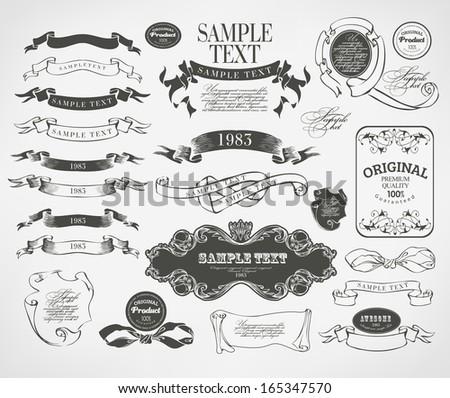 calligraphic design elements - stock photo