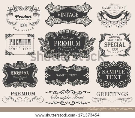 calligraphic design elements and page decoration, card for invitation