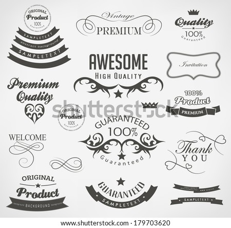 calligraphic design elements, page decoration and label
