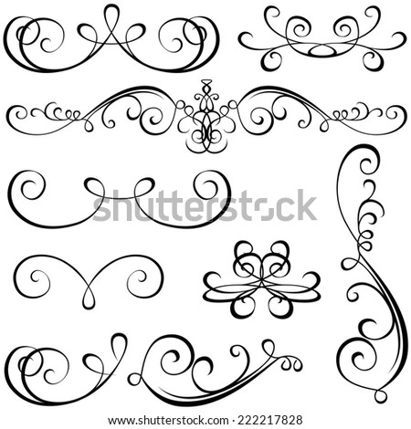 Calligraphic Elements - Black Design Elements - stock photo