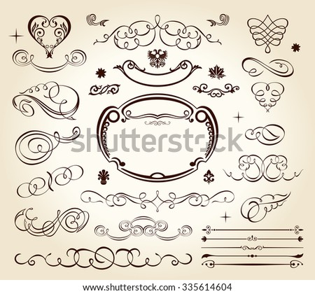 calligraphic elements vintage ornament set. Vector frame ornament decor - stock photo