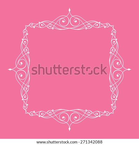 Calligraphic frame and page decoration. illustration pink white background - stock photo