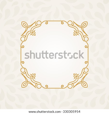 Calligraphic frame. Raster vintage elegant text border and decor background - stock photo