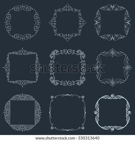 Calligraphic frames set and page decoration ornament. raster vintage illustration elegant - stock photo
