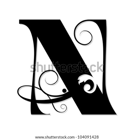 Calligraphy Letters W Calligraphic letter n isolated