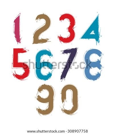 Calligraphic numbers drawn with ink brush, colorful numbers collection. - stock photo