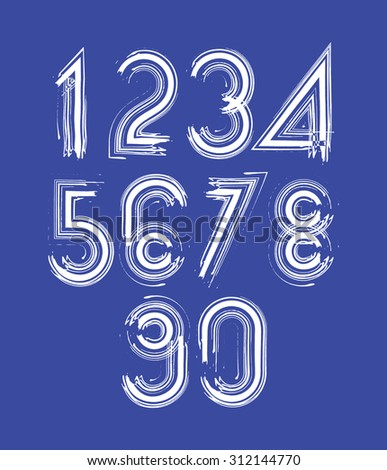 Calligraphic numbers drawn with ink brush, white striped numbers collection. - stock photo