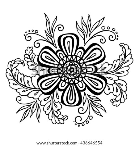 Calligraphic Vintage Pattern, Symbolic Flower and Leafs, Abstract Floral Outline Ornament, Black Contours Isolated on White Background.  - stock photo