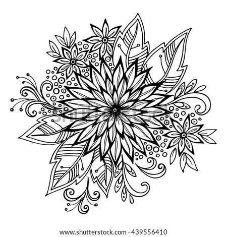 Calligraphic Vintage Pattern, Symbolic Flowers and Leafs, Abstract Floral Outline Ornament, Black Contours Isolated on White Background.  - stock photo
