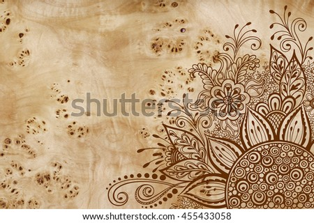 Calligraphic Vintage Pattern, Symbolic Flowers and Leafs, Abstract Floral Outline Ornament, Brown Contours on Wood Texture, Veneer Poplar Root - stock photo