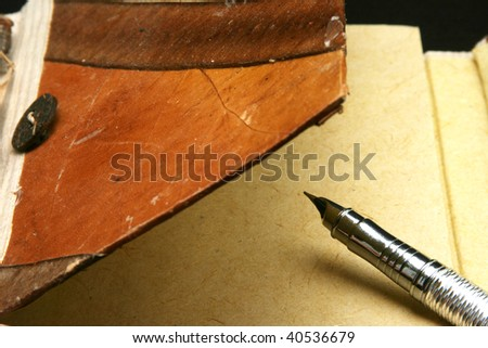 Calligraphy pen on opened notebook - stock photo