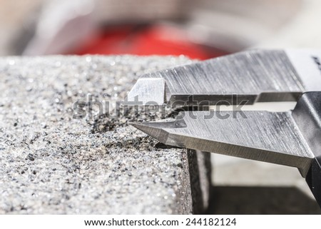 Calliper and cutting and grinding disks with diamonds. - stock photo