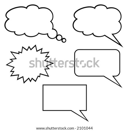 Callout Shapes (Speech Bubbles). White Background - stock photo