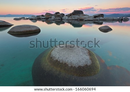Calm and zen like conditions on the eastern shores of Lake Tahoe near Sand Harbor.  - stock photo
