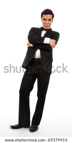Calm confident business man looking down