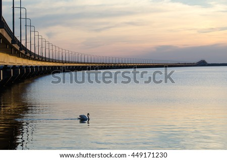 Calm evening by the Oland bridge in Sweden, connecting the swedish island Oland with mainland Sweden