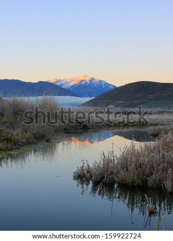 Calm frosty autumn morning in the Wasatch mountains, Utah, USA. - stock photo
