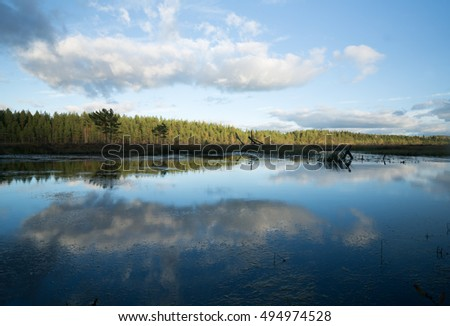 Calm lake in sweden, cloud reflections in the water