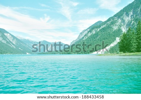 calm lake in the mountains in Germany - Europe, the alps - stock photo