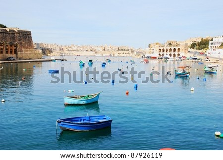 Calm marina in Malta - stock photo
