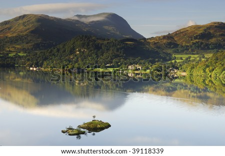 Calm morning, Ullswater - stock photo