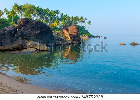 calm ocean in a beautiful tropical lagoon - stock photo