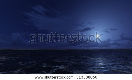 Calm ocean waves under starry night sky and a moonlight on the ocean surface. Realistic 3D illustration was done from my own 3D rendering file.