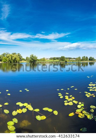 Calm pond and water plants in a beautiful summer day - stock photo