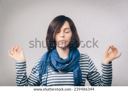 calm pretty woman doing yoga exercise.  - stock photo