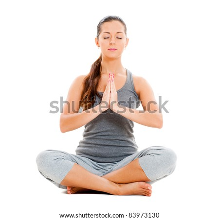 calm pretty woman doing yoga exercise. isolated on white background - stock photo