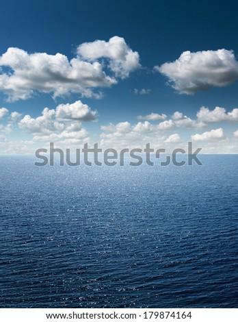 Calm sea and blue clear sky  - stock photo