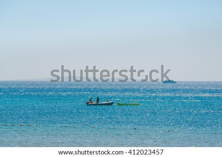 Calm Sea Ocean And Blue Sky Background, Egypt.