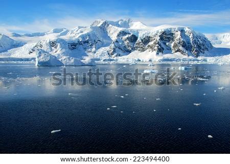 Calm seascape in antarctica - stock photo