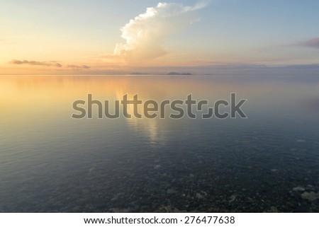 Calm soft tranquil seascape sunrise image  for background. - stock photo