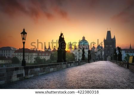 Calm sunrise at Charles bridge without people, Prague, Czech republic - stock photo