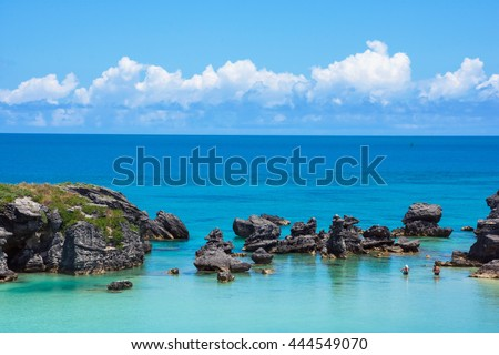 Calm turquoise colored water of Tobacco Bay in Bermuda. - stock photo