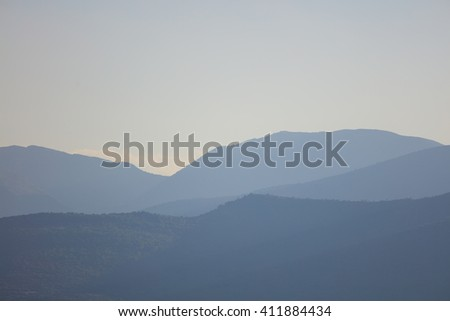 Calm view on silhouette of landscape in daylight