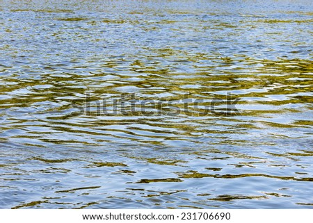 Calm water of the river plains in the background - stock photo