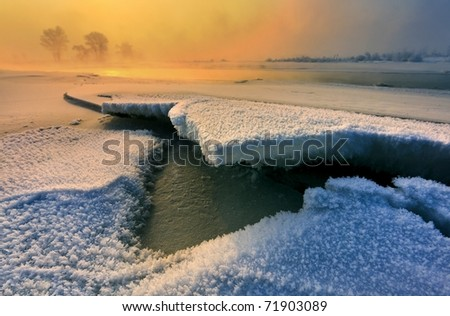 Calm winter landscape - stock photo