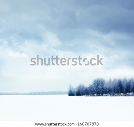 Calm Winter Landscape with Snowy Field and Moody Sky - stock photo