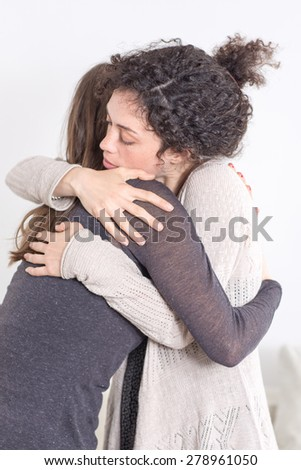 Calming a friend down - stock photo