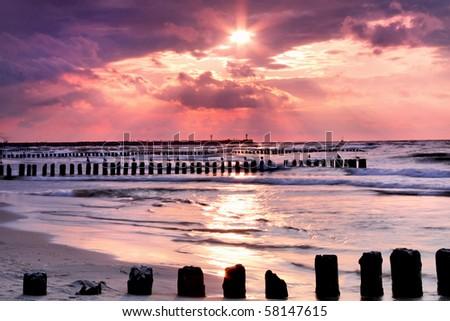 Calmness.Beautiful sunset at Baltic sea. - stock photo
