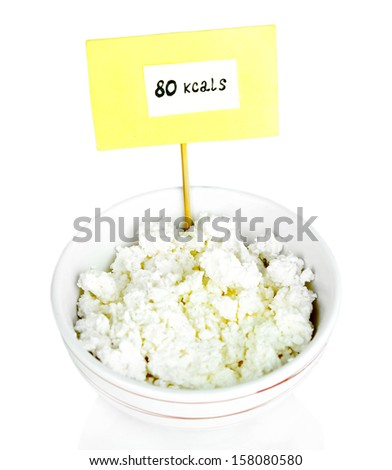 Calorie content of cottage cheese isolated on white - stock photo