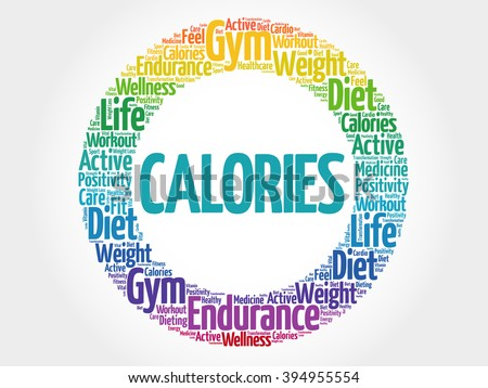 CALORIES circle stamp word cloud, fitness, sport, health concept - stock photo