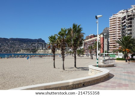 CALP, SPAIN - OCT 13: Promenade and beach of the Mediterranean Resort Calp, Costa-Blanca. October 13, 2011 in Calp, Province of Alicante, Spain
