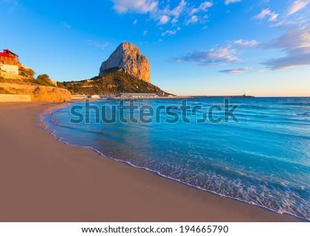 Calpe Alicante sunset at beach Cantal Roig in Mediterranean Spain - stock photo