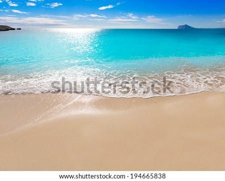 Calpe Cala el Raco beach in Mediterranean Alicante of Spain - stock photo