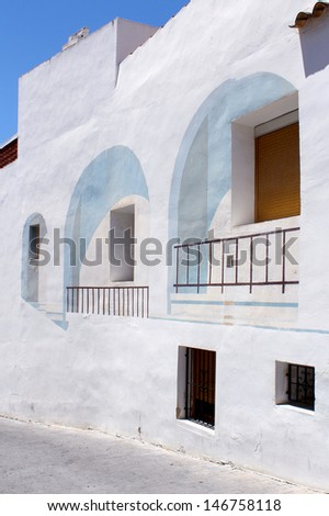 Calpe. Mediterranean Spanish coastal city historic old town center. Tradicional house.