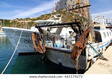 CALPE SPAIN - JUNE 5 Trawl doors and chains details on the stern of & Calpe Spain June 5 Trawl Doors Stock Photo 661174273 - Shutterstock