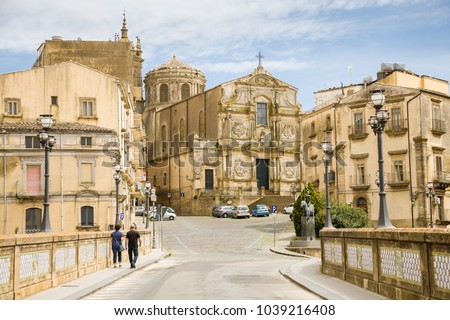 Caltagirone, Italy - 2015, April 26 : The church of San Francisco of Assisi in the historic baroque town of Caltagirone in southern Sicily, Italy